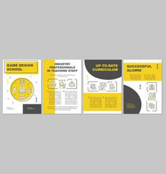 Game design school brochure template vector