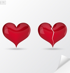Glass heart whole and broken with highlights vector