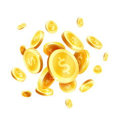 Golden coins splash splatter icon vector