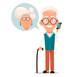 grandfather calling to grandmother vector image