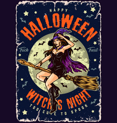 Halloween night vintage colorful poster vector