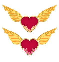 Heart with wings and roses vector image
