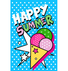 Hello summer banner bright retro pop art style vector