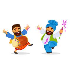 Holi funny dancing men vector