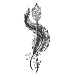 indian arrow and bird feather tattoo vector image