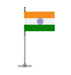 indian flag on the metallic pole vector image