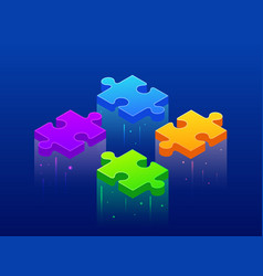 isometric background four piece puzzle simple 4 vector image