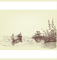 Lake drawing empty boat on water ripples vector