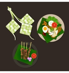 lebaran ketupat idul fitri ied food sate opor ayam vector image
