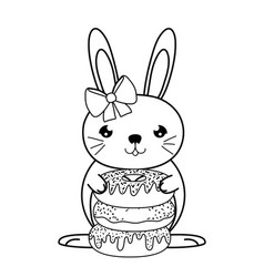 Line famale rabbit animal with sweet donuts vector