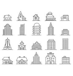Line skyscrapers and houses outline city and town vector
