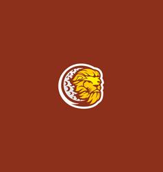 lion moon logo icon vector image