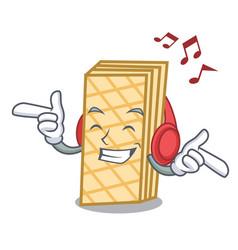 Listening music waffle mascot cartoon style vector