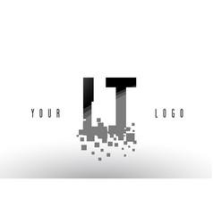Lt l t pixel letter logo with digital shattered vector