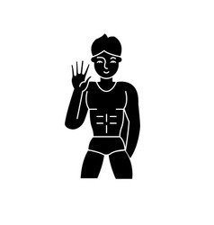 Male striptease black icon sign on vector