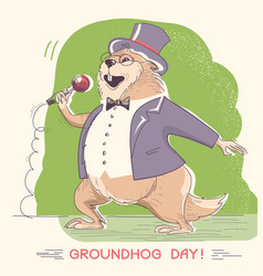 marmot in gentleman clothes with microphone vector image