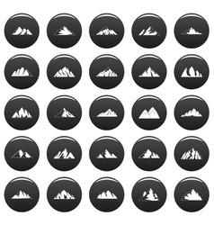 mountain icons set vetor black vector image