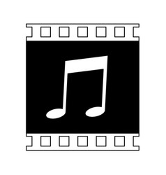 music player symbol in black and white vector image