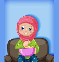 Muslim girl eating popcorn vector