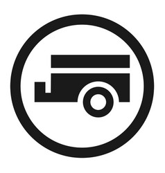 No trailers prohibited sign line icon vector