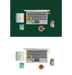 Office desktop flat design concept vector image