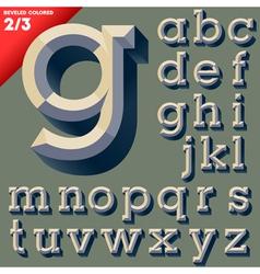 old school beveled alphabet vector image