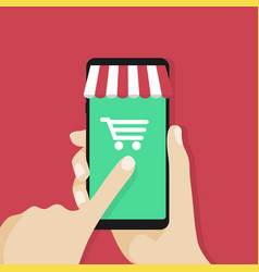 online shopping app on smartphone screen vector image