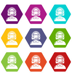 operator icons set 9 vector image