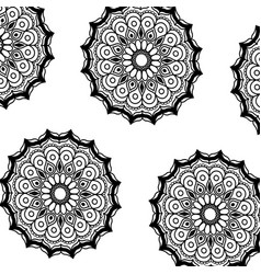 Pattern monochrome flowers mandala decorative vector