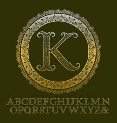 patterned gold letters with initial monogram vector image