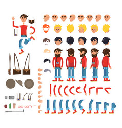 photographer character flat collection on white vector image