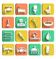 Plumbing tools icons set vector