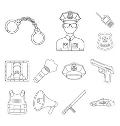 police department outline icons in set collection vector image