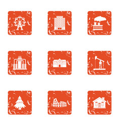 Power supply icons set grunge style vector