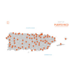 Puerto rico map with administrative divisions vector