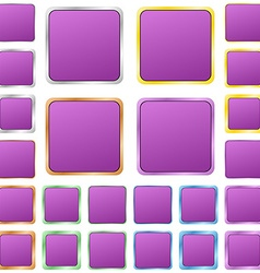 Purple blank square metal button set vector