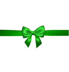 Realistic green bow with horizontal green ribbons vector