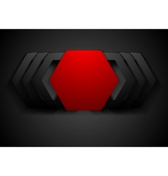 Red and black hexagon shapes logo vector