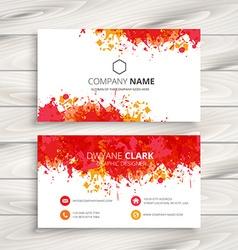 Red ink splash business card vector