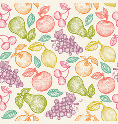 retro pattern with colorful fruits vector image