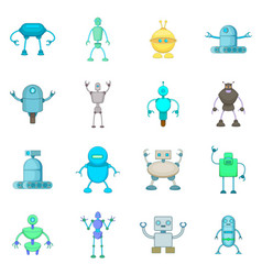 robot icons set cartoon style vector image