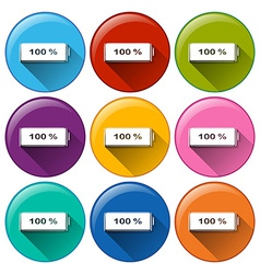 Round icons with fully charged batteries vector