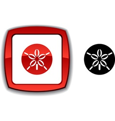 Sand dollar button vector