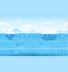 sea game background with icebergs vector image