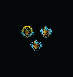seahorse mask icon logo vector image