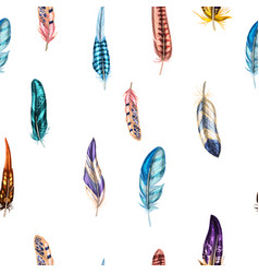 Seamless pattern with colorful detailed feathers vector