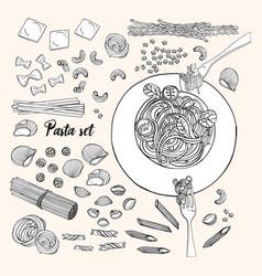 Set different types pasta hand drawn vector