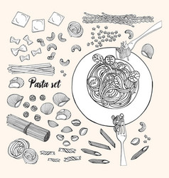 set of different types pasta hand drawn vector image