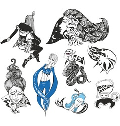Set of fantasy ladies and tattoo girls vector