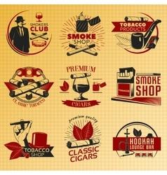 Smoking Tobacco Label Set In Color vector image